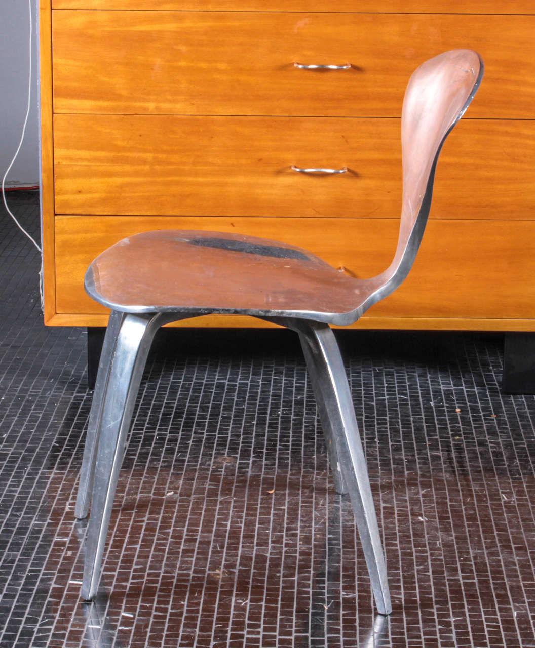 pair of rare and unusual polished aluminum norman cherner chairs 3