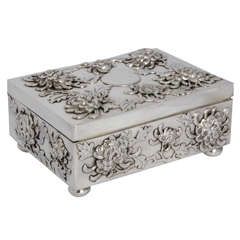 Chinese Export Silver Box with Chrysanthemum