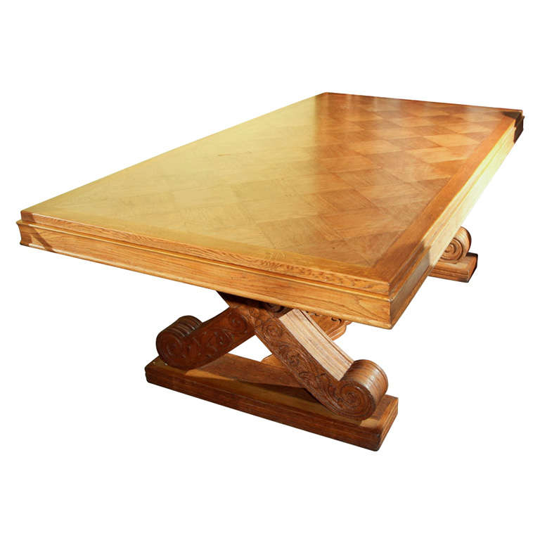 Solid Oak Trestle Style Dining Table
