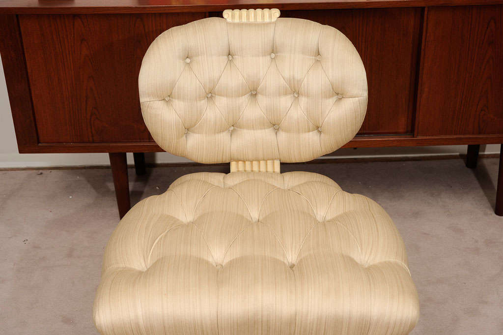 Pair Tufted 1940s Slipper Chairs atttributed to Dorothy Draper 4