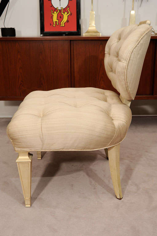 Pair Tufted 1940s Slipper Chairs atttributed to Dorothy Draper 5