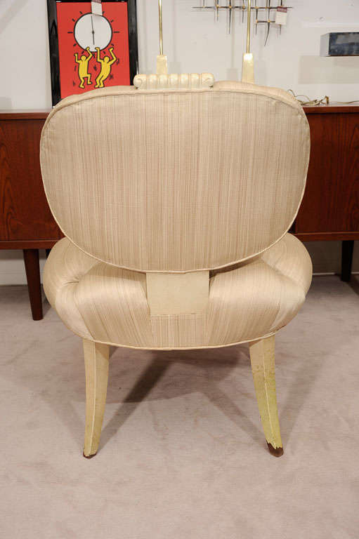 Pair Tufted 1940s Slipper Chairs atttributed to Dorothy Draper 6