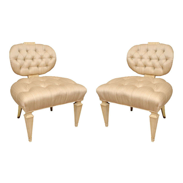 Pair Tufted 1940s Slipper Chairs atttributed to Dorothy Draper 1