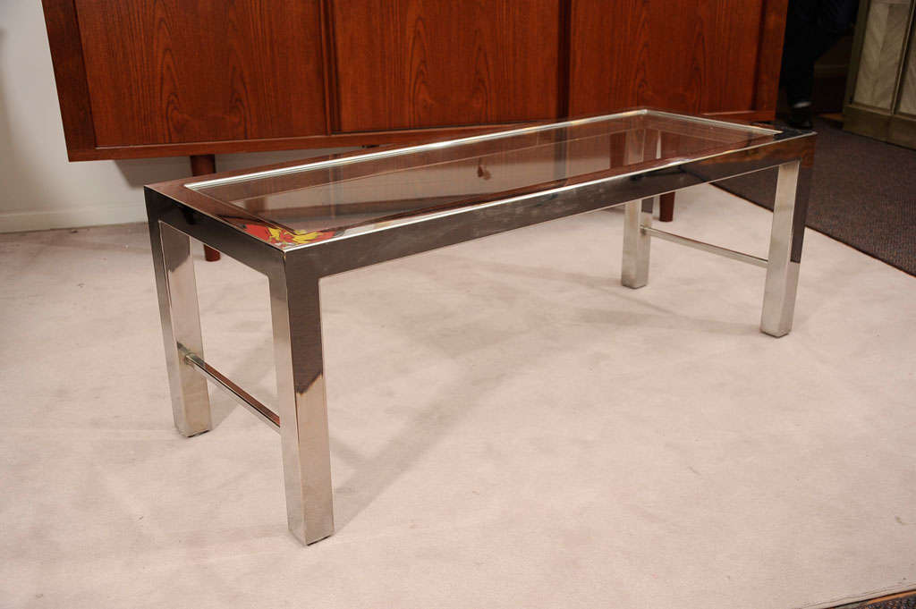 Parsons Style Chrome And Glass Coffee Table By Milo Baughman At 1stdibs