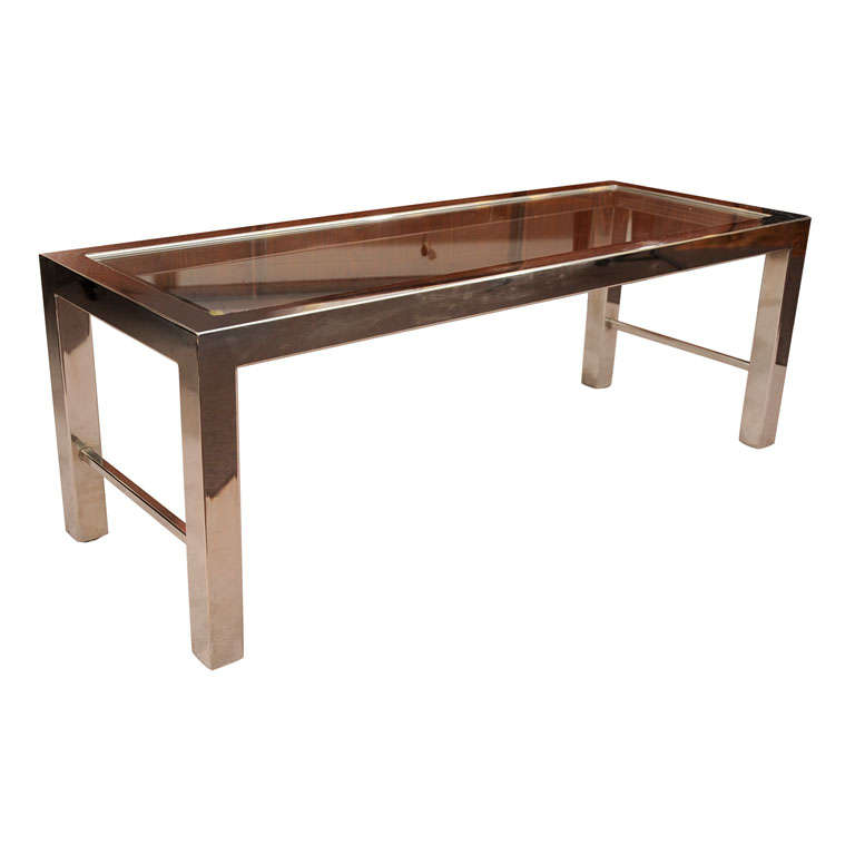 Parsons Style Chrome And Glass Coffee Table By Milo Baughman At