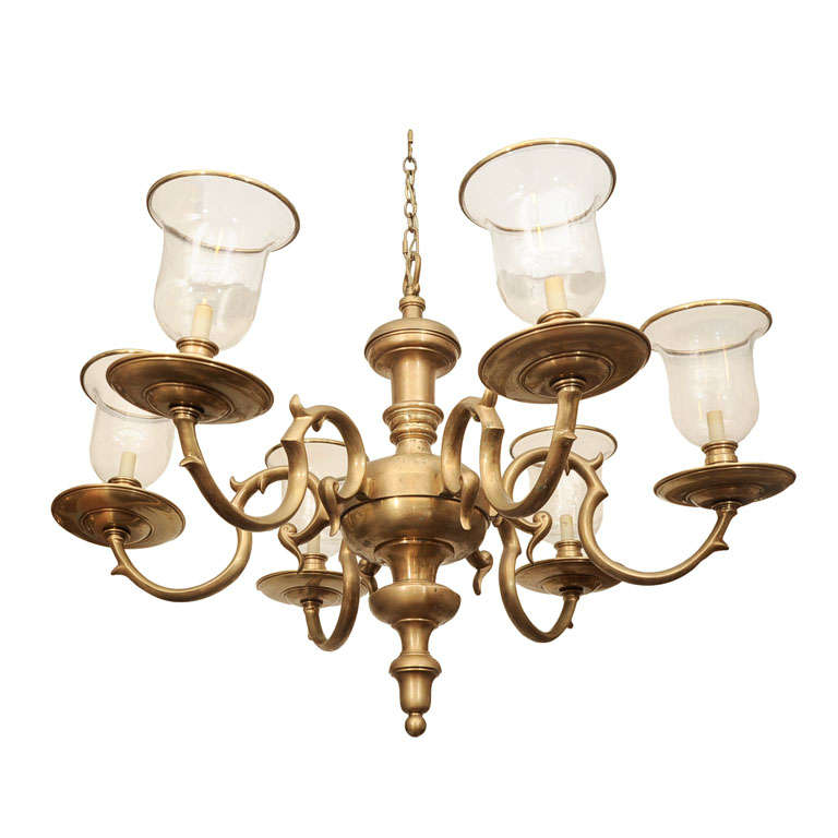 Large Federal Style Six Light Brass Chandelier with Glass Shades – Large Brass Chandelier