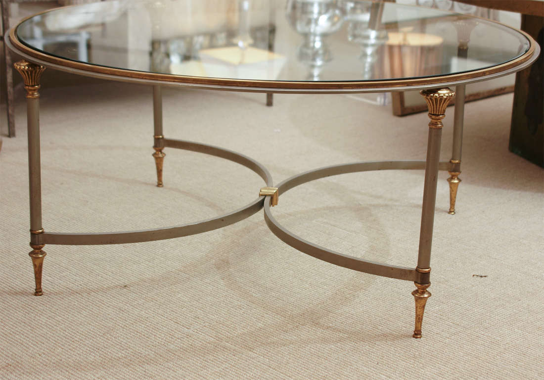 Round Jansen Steel Brass And Glass Coffee Table At 1stdibs