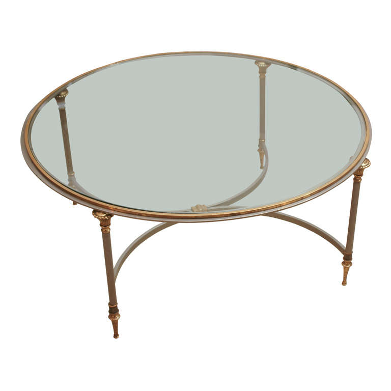 Antique Brass And Glass Round Coffee Table: XDSC02719.jpg