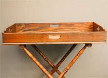 English Dark Oak Butler's Tray Table on Stand image 2