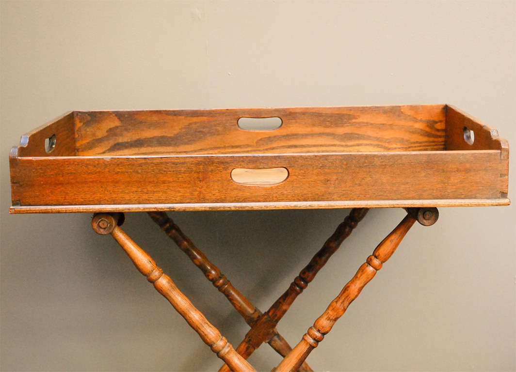 English Dark Oak Butler's Tray Table on Stand 2