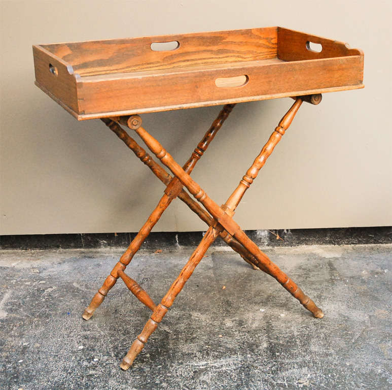 English Dark Oak Butler's Tray Table on Stand 4