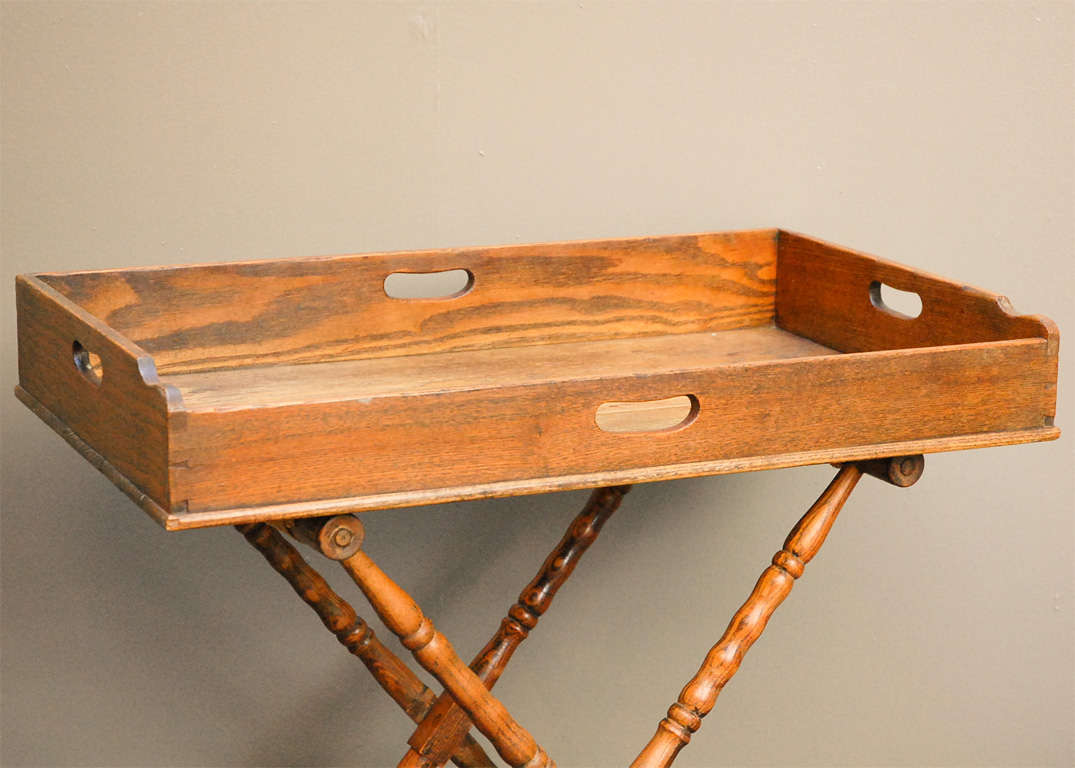 English Dark Oak Butler's Tray Table on Stand 5