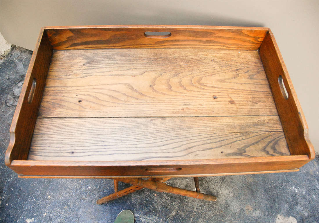 English Dark Oak Butler's Tray Table on Stand 7
