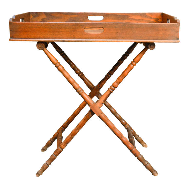 English Dark Oak Butler's Tray Table on Stand