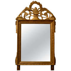 French Louis XVI Period Late 18th Century Giltwood Mirror with Carved Crest