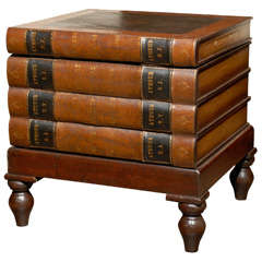English 20th Century Wooden Leather-Bound Faux Book Table with Hidden Storage