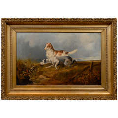 James Charles Morris Oil Painting circa 1860 of Two Sporting Dogs Hunting