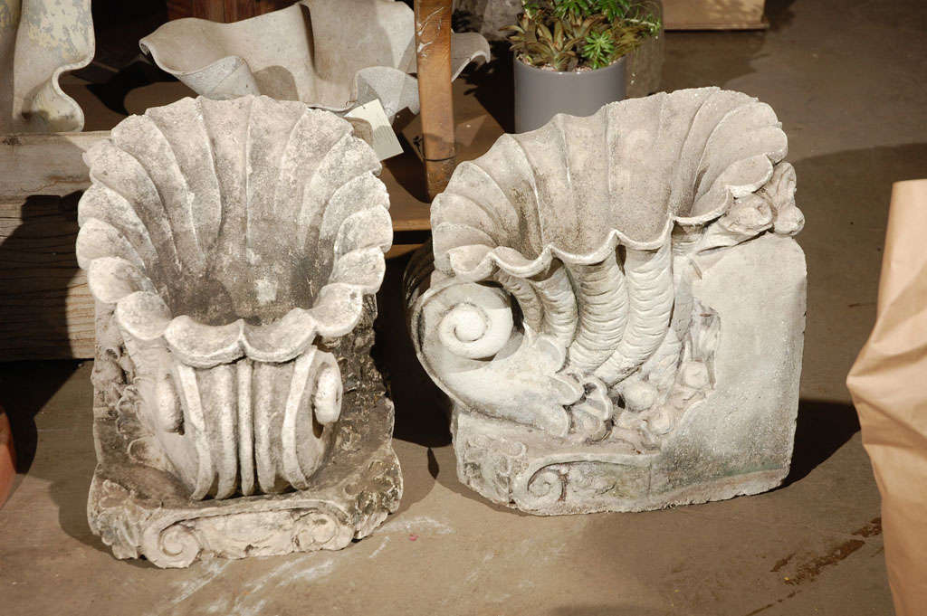 Pair Of Cast Concrete Shell Shaped Planter At 1stdibs