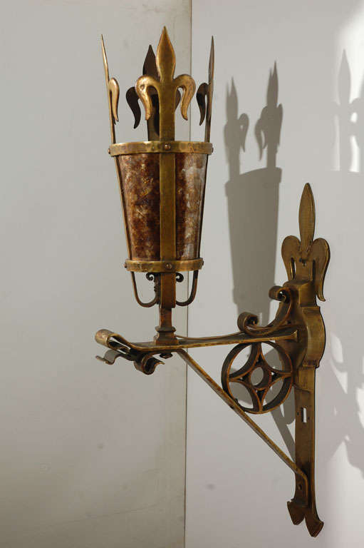 Beautifully wrought brass sconces from France. New mica.