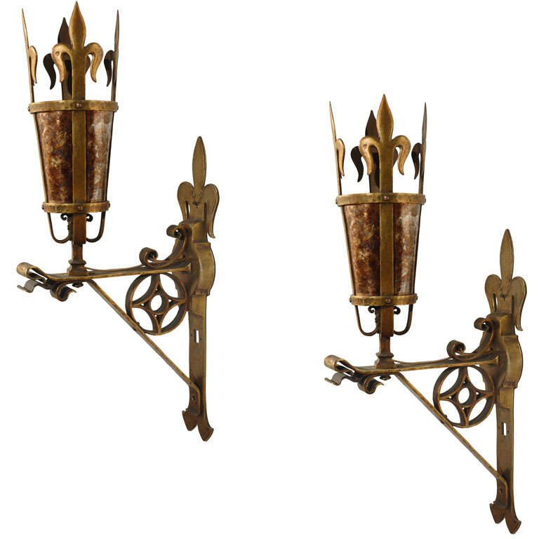 Pair of Large French 1920s Sconces For Sale