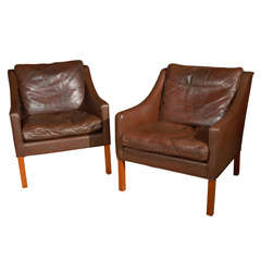 Pair of Leather Borge Mogenson Armchairs