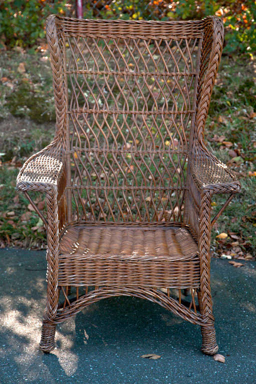 Antique Wicker Wingback Chair 2