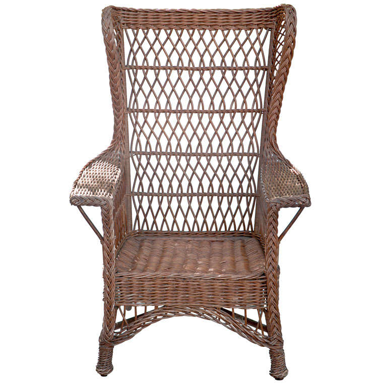 Antique Wicker Wingback Chair at 1stdibs