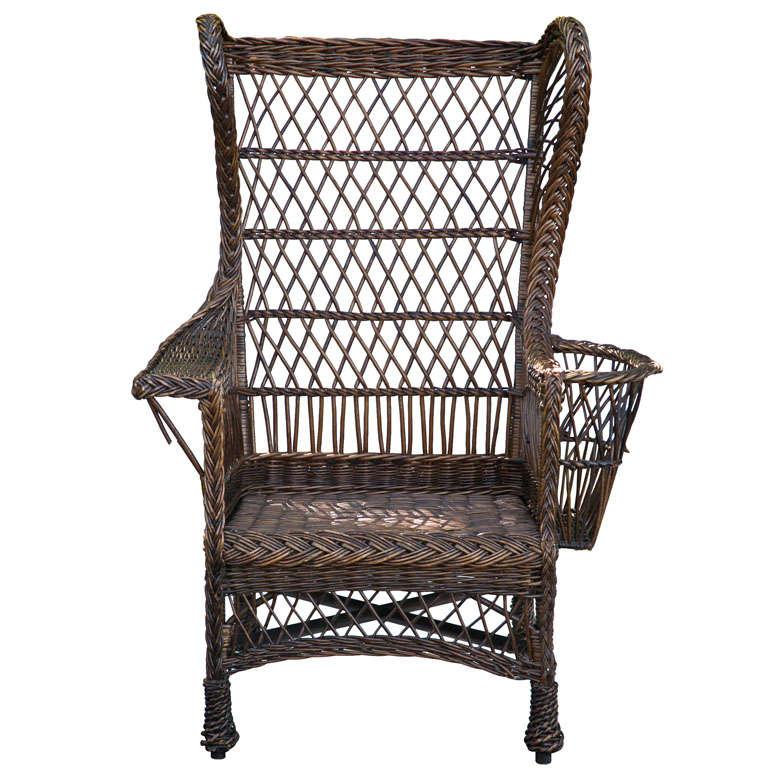 Antique Wing Back Wicker Chair