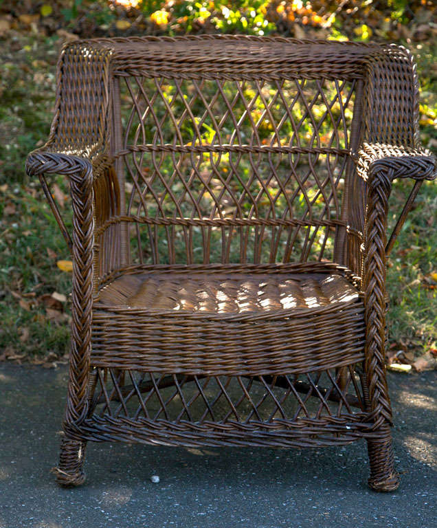 Antique Bar Harbor Shelf Back Wicker Chair in original natural finish. Chair  measures 30