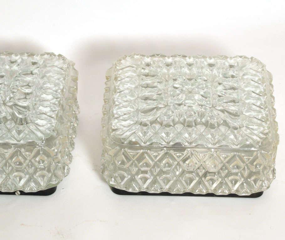 German Set Square Glass Flush Mount, Wall Lights by Limburg Glashütte For Sale