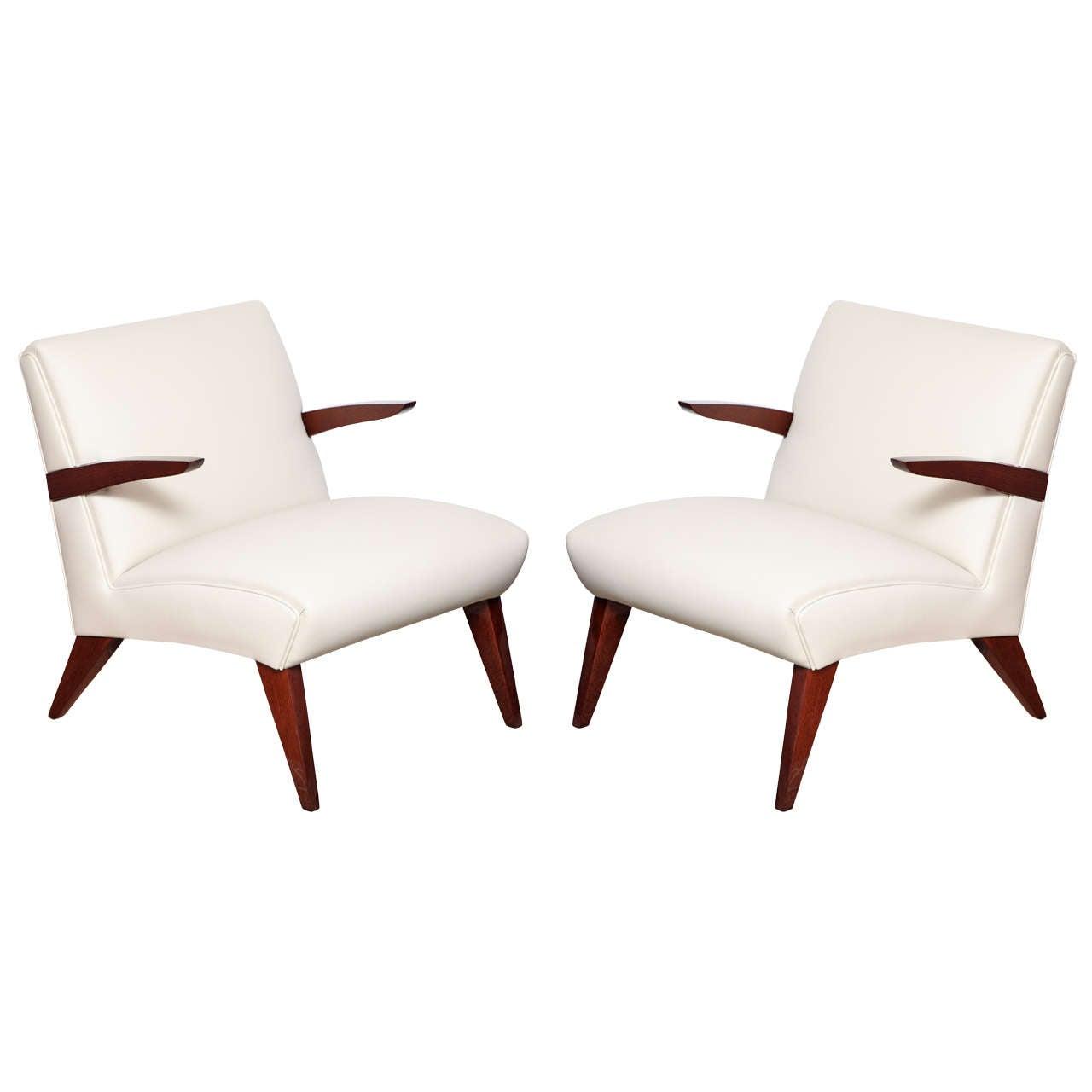 Pair of Art Deco Streamline Lounge Chairs 1