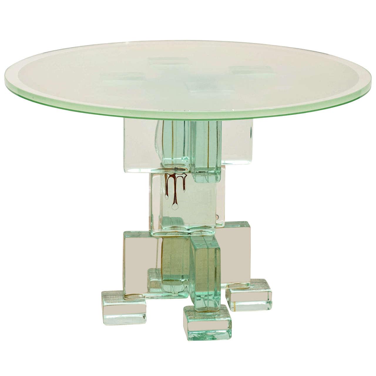 Italian 70 39 S Glass Block Table At 1stdibs