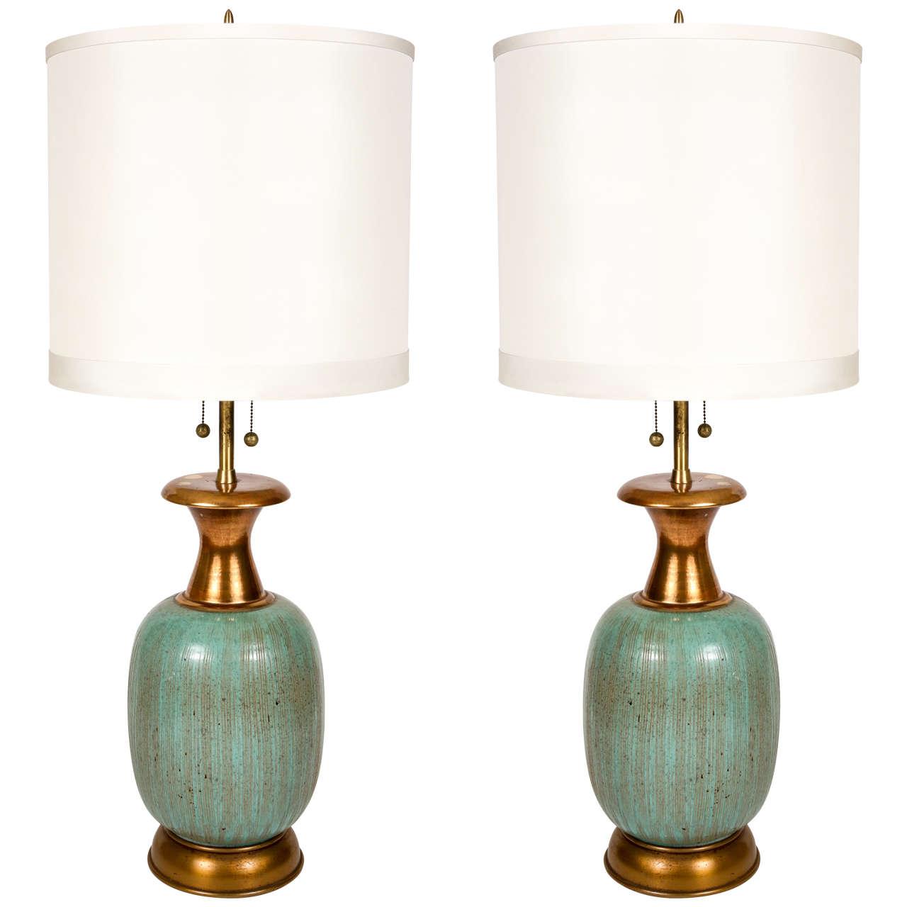 pair of aquamarine ceramic table lamps for sale at 1stdibs