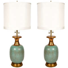 Pair of Aquamarine Ceramic Table Lamps