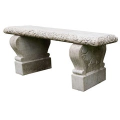 Carved Marble Bench
