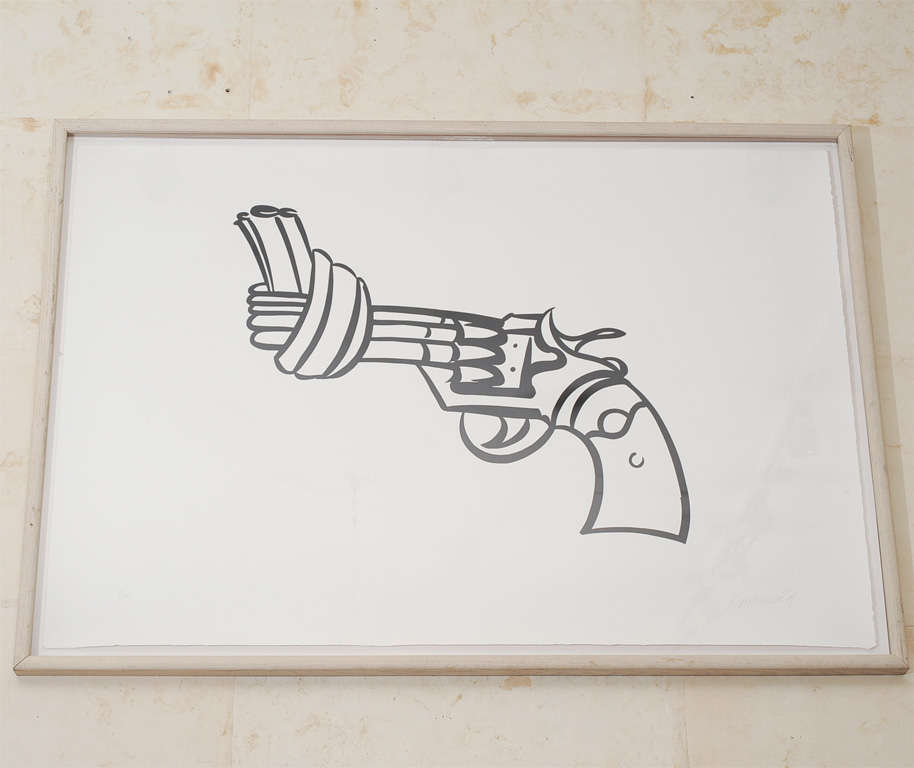 Non violence or The knotted Gun by Carl Fredrik Reutersward (Swedish, b. 1934)<br />