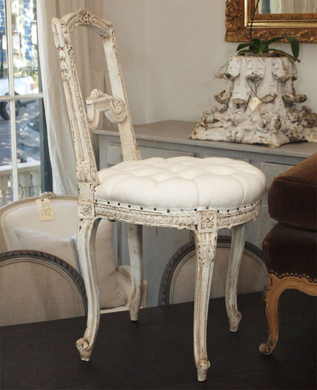 Tufted French Louis XV Painted Parlor Chair For Sale 6