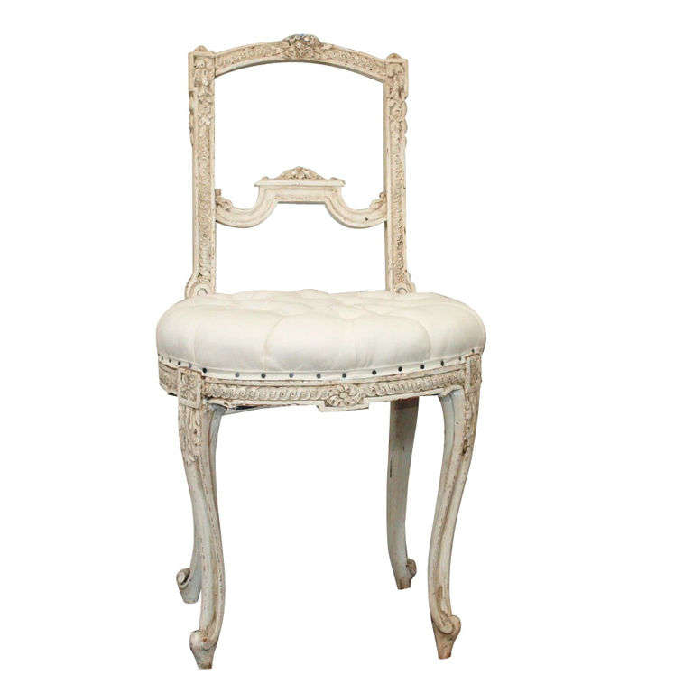 Tufted French Louis XV Painted Parlor Chair For Sale
