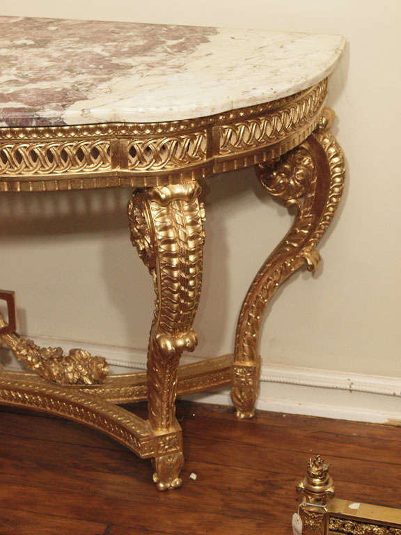 Engraved Limestone Inlay : Antique french louis xvi gilt carved wood marble top