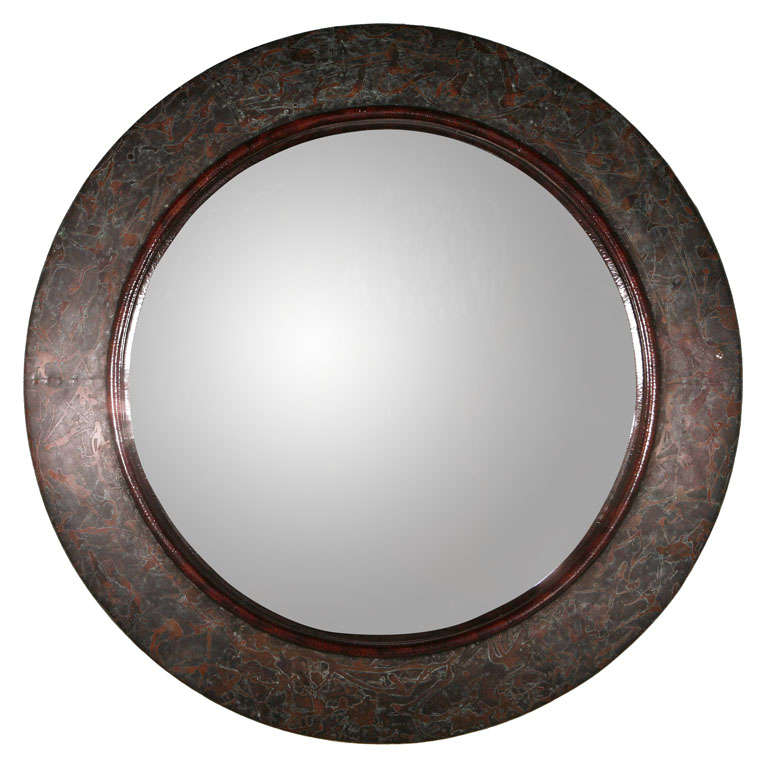 large round copper mirror at 1stdibs