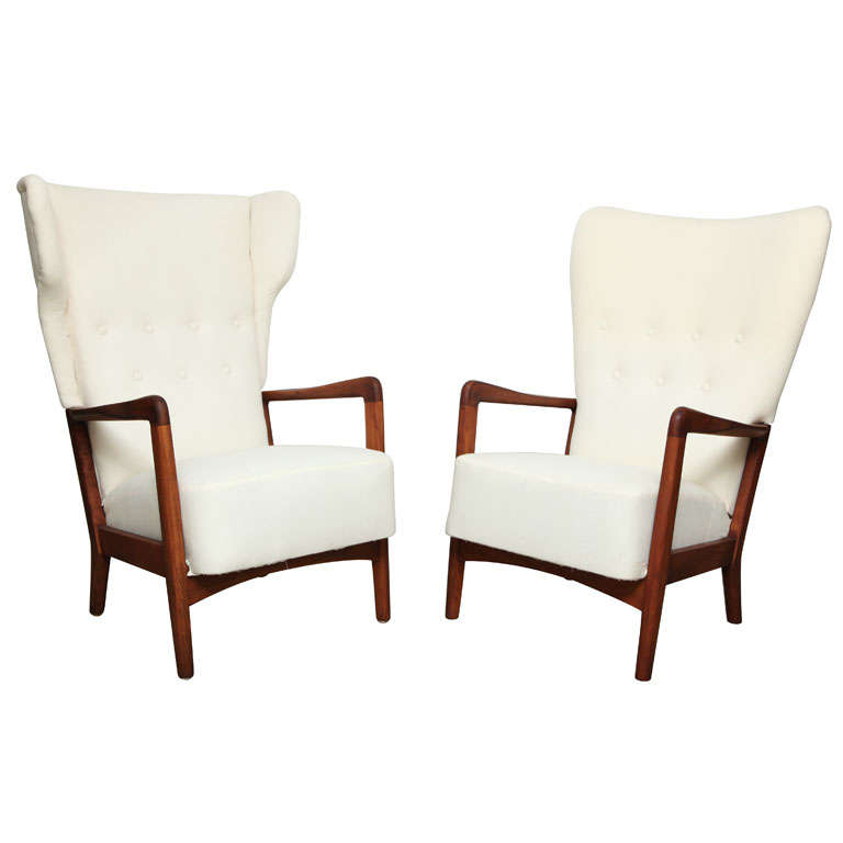 Pair Of Danish Modern High Back Chairs At 1stdibs