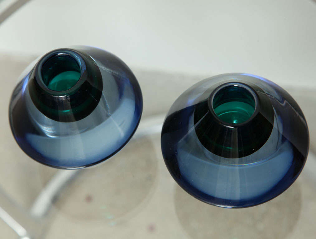Italian Salviati Glass Candle Holders, circa 1960s For Sale