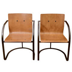 Pair of 1960's French Ashwood Chairs with Steel Base