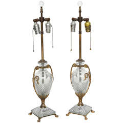 Pair Of Bronze And Crystal Lamps