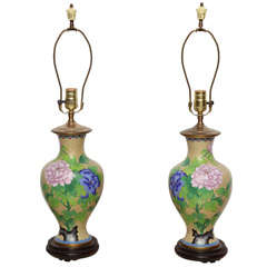 Pair Of Cloisonne Lamps