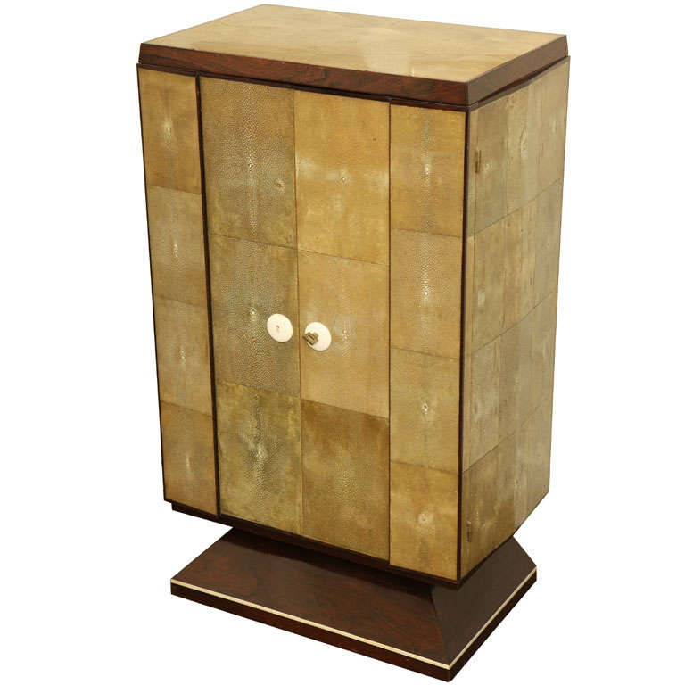 French Art Deco Unique Shagreen and Palissander Two-Door Cabinet ...