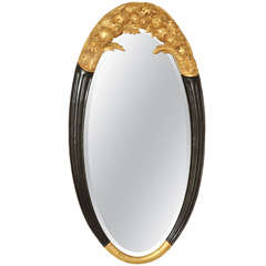 Sue et Mare French Art Deco Large Oval Parcel-Gilt and Black Lacquered Mirror