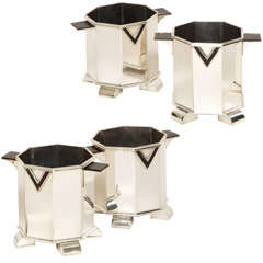 Cardeilhac Art Deco Set of Four Silver, Bone and Faux Tortoiseshell Wine Caddies