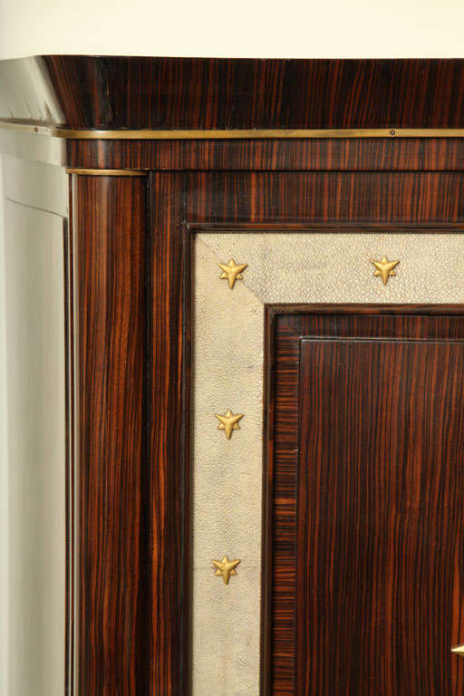 Mid-20th Century André Frechet French Art Deco Macassar Ebony, Shagreen & Gilt Bronze Cabinet For Sale