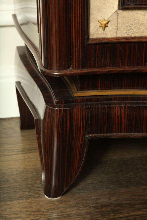 André Frechet French Art Deco Macassar Ebony, Shagreen & Gilt Bronze Cabinet For Sale 1